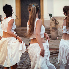 Four white skirts by Cassandra G - People Musicians & Entertainers ( street show, street art, art, actress, dance, entertainment, dancer )