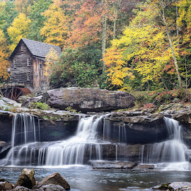 Tranquility Redefined by Stevan Tontich - Landscapes Waterscapes ( mill, west virginia, color, waterfall, fall )