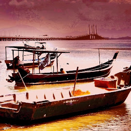 Boats at Sunset by Norman Tan - Transportation Boats ( waterscape, sunset, boats, bridge, fishing )