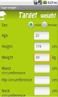 Screenshot of Target Weight
