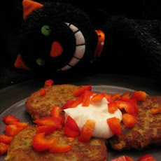 Fava Bean Cakes With Diced Red Peppers and Yogurt