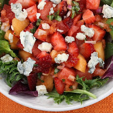 Strawberry- Melon Salad w/ Watermelon Vinaigrette