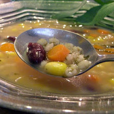 Barley Soup With Red Beans Corn and Sage