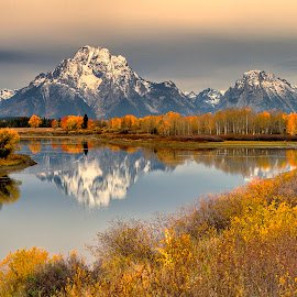 Fall In The Tetons by John Magnus - Landscapes Mountains & Hills ( water, mountains, fall colors, fall, snow, reflections, Earth, Light, Landscapes, Views )