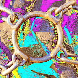 Chained by Joerg Schlagheck - Digital Art Abstract ( scary, abstract, solid, new, chain, christmas, round, circle, yellow, great., tire )
