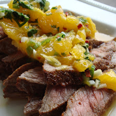 Paprika and Coriander Rubbed Steaks with Orange-Coriander Salsa