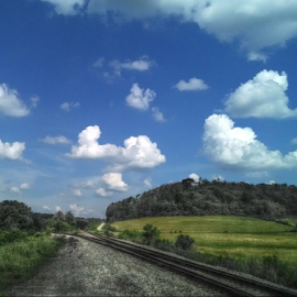 Summer Day View by Taunia Maple - Instagram & Mobile Android ( clouds, outdoors, railroadtracks, bluesky, view, landscape )