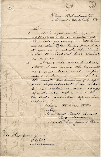 This brief letter written by Acting Chief Commissioner Nicolson was dispatched less than a month after the siege at Glenrowan. In his letter, Nicolson once again asks for an inquiry to be held in relation to police proceedings in regards to the Kelly Gang On the reverse side of the page are annotations made by Standish, the Chief Commissioner, who referred the matter to the Honourable Chief Secretary, Robert Ramsay.