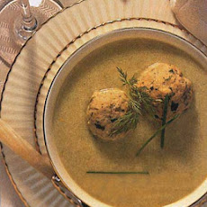 Celery and Parsnip Soup with Green Onion-Dill Matzo Balls