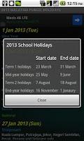 Screenshot of Malaysia Public Holidays 2014
