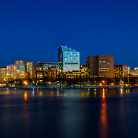 Boston AT Blue Hour by Michael Phillips - City,  Street & Park  Skylines ( boston, nikon d3100, blue hour, boston skyline )
