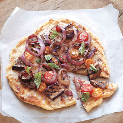 Grilled Pizza with Eggplant and Tomatoes