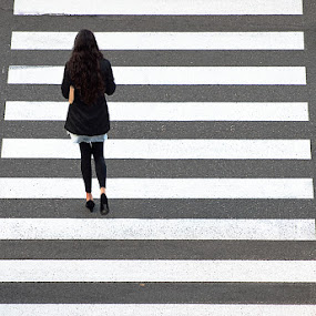 by MIhail Syarov - City,  Street & Park  Street Scenes ( crossing, girl, street, walkway, zebra, pedestrian crossing, walk )