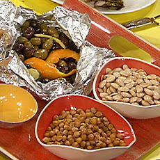 Spanish Nibbles: Hot Olives with Citrus and Spice, Marcona Almonds, Paprika Toasted Chick Peas