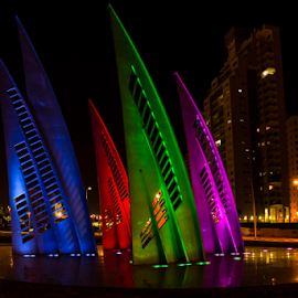 City Lights by Robert Namer - City,  Street & Park  Night ( lights, roundabout, sculptures, night photography, city life, city lights, sail, colorfull, cityscape, night shot, nightscape, city )