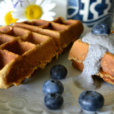 Peanut Butter-Banana Waffles with Blueberry Macadamia Cream