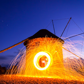 Windmill of fire by Nuno Miguel Valente - Buildings & Architecture Other Exteriors ( lightpainting, night, windmill, atalhada )