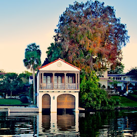 Winter Park Boat Slip by Jamie Myers - Buildings & Architecture Homes ( water, boating, home, boat slip, florida, fall, lake, florida in fall, lakeside, homes )