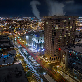 Québec city by night by Éric Senterre - City,  Street & Park  Night ( winter, hdr, long exposure, night, québec )