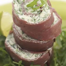 Smoked Venison, Rocket and Cream Cheese Roulade