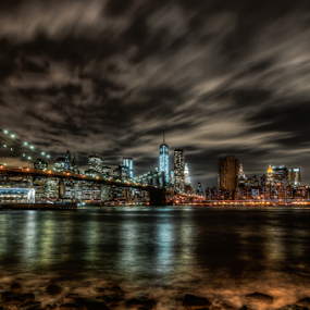 Brooklyn bridge from Brooklyn... by Benoit Beauchamp - City,  Street & Park  Night