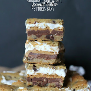 Chocolate Chip Cookie Peanut Butter S'mores Bars