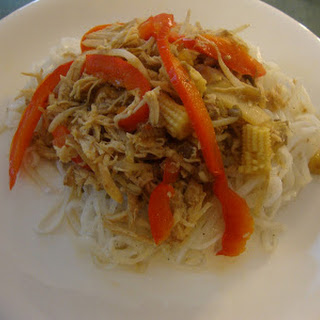 Healthy Chicken Chow Mein with Rice Noodles