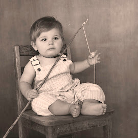Lets Go Fishing by Melissa Mckinney - Babies & Children Child Portraits ( dreaming, boys, fishing, overalls, bare feet )
