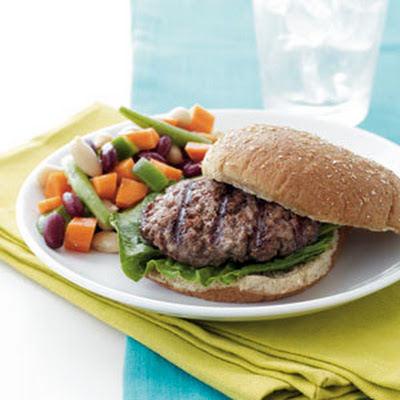 Grilled Burgers & 3-Bean Salad