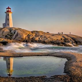 Peggy's Point Lighthouse 8576 by Karen Celella - Landscapes Waterscapes ( water, nova scotia, lighthouse, ocean, travel, seascape, slow shutter,  )