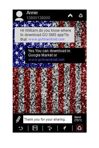 GO SMS Theme - USA Glitter