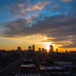 STL Morning by Jordan Chapell - City,  Street & Park  Skylines ( clouds, skyline, arch, saint louis, sunrise )