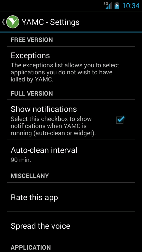 YAMC Memory Cleaner Screenshot 2