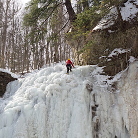 by Linda Pickrell - Sports & Fitness Other Sports ( icy, winter, ice, snow, ice climbing, sport, hamilton )