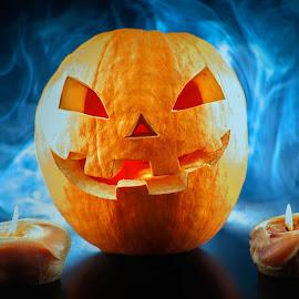 Halloween pumpkin by Sadzak Vladimir - Food & Drink Fruits & Vegetables ( candle, red, pumpkin, halloween pumpkin, light, smoke, halloween,  )