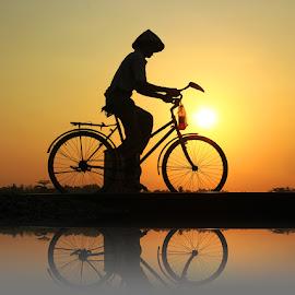 pak tani by Mh Gandung - Transportation Bicycles ( bike, sunset, wate, man )