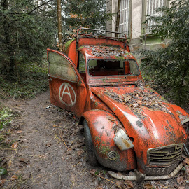 Forgotten car in France by Jessica Horn - Transportation Automobiles ( canon, car, urban exploration, urbex, red, hdr, france, oldtimer, forgotten, abandoned, decay, lost places )