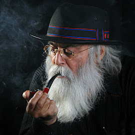 Man Smoking Pipe by Rakesh Syal - People Portraits of Men (  )