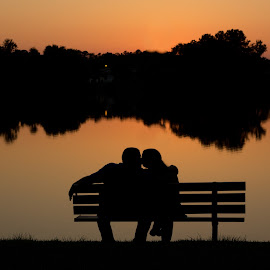 Sunset Kiss by Jonathan Pope - People Couples ( love, kiss, silhouette, sunset, engagement )