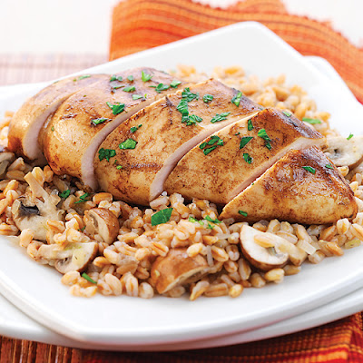 Balsamic Dijon Chicken with Farro & Mushrooms