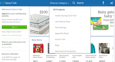 Screenshot of Sam's Club