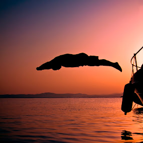 Summmer Sunrise Diving In Greece by Giannis Paraschou - People Street & Candids ( sunrise greece, diving greece, summer sunrise diving greece, color, colors, landscape, portrait, object, filter forge, , Emotion, human, people, silhouette, Free, Freedom, Inspire, Inspiring, Inspirational )