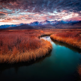 Owens River Sunrise  by Miles Smith III - Landscapes Mountains & Hills ( mountains, sierras, owens river, california, sunrise, big pine, river )