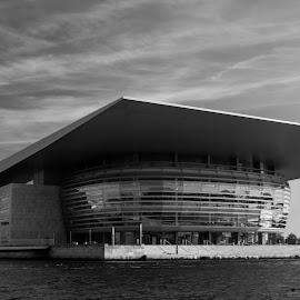 Copenhagen Opera by Rói Heinason - Buildings & Architecture Public & Historical ( contrast, copenhagen, waterview, black and white, opera, opera house )