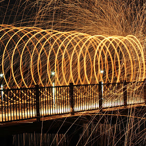 Steel Wool On The Lake by Brenda Hooper - Abstract Light Painting ( abstract, light painting, steel wool, painting, fire,  )