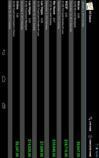 Poker Income Tracker - screenshot