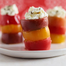 Cherry Tomato Towers with Goat Cheese Aioli