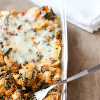 Tortellini Bake with Spinach and Roasted Red Peppers