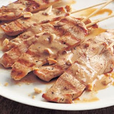 Grilled Chicken Skewers with Peanut-Ginger Sauce