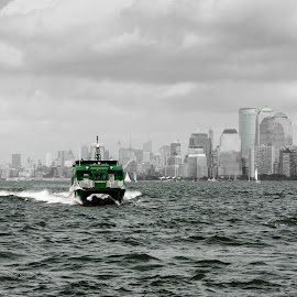 Green Boat by Laura Bode - Transportation Boats ( water, manhattan, boat )